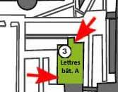 Plan d'accès Bibliothèque du Département de Lettres modernes